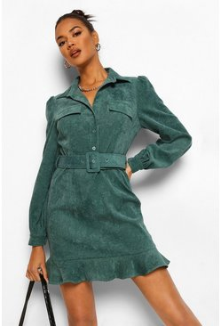 Green Cord Belted Ruffle Hem Dress