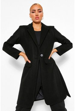 Black Shoulder Pad Detail Wool Look Coat