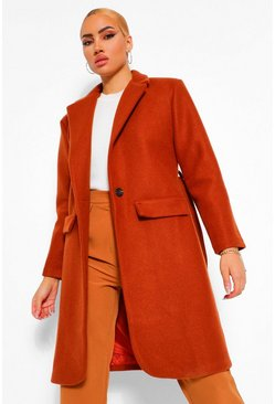 Rust orange Shoulder Pad Detail Wool Look Coat