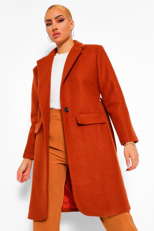 COATS & JACKETS Shoulder Pad Detail Wool Look Coat