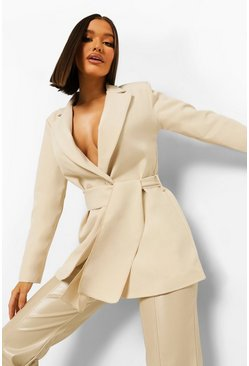 Tie Waist Long Line Tailored Blazer, Stone beige