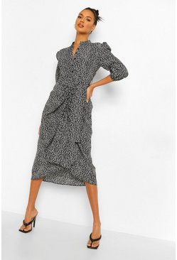 Black Ditsy Floral Ruched Front Midaxi Shirt Dress