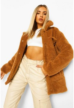 Camel beige Oversized Teddy Faux Trucker Jacket