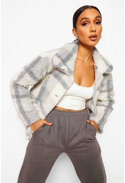 Grey Check Teddy Faux Fur Button Through Coat