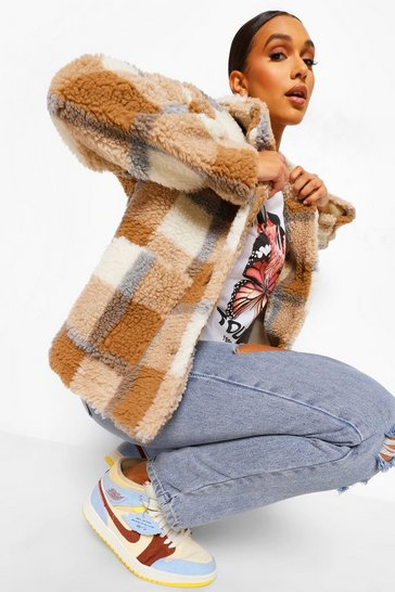 Stone beige Check Teddy Faux Fur Button Through Coat