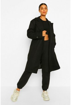 Black Buckle Detail Wool Look Coat