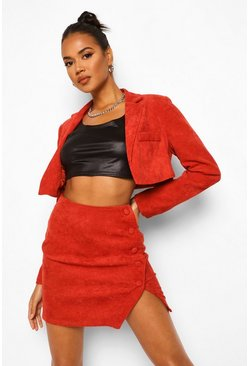 Rust orange Cord Cropped Tailored Jacket
