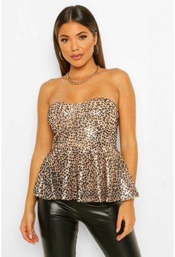 Black Sequin Animal Print Bandeau Peplum
