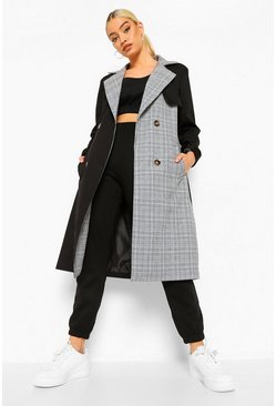 Black Check Mix Trench Coat