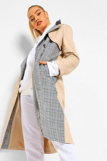 Stone beige Check Mix Trench Coat