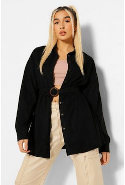 Black Cord Belted Oversized Shirt