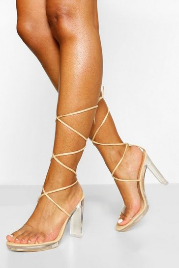 Nude Clear Wrap Up Strap Platform Heels