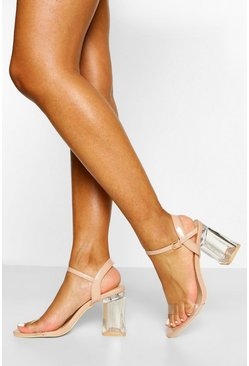 Nude Clear Mid Block Heel Two Parts