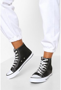 Black High Top Lace Up Trainers
