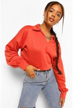 Rust orange Polo Cropped Sweat