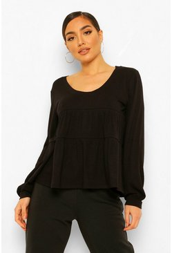 Ribbed Smock Top, Black noir