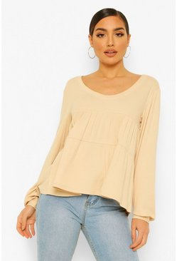 Stone beige Ribbed Smock Top