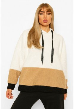 Borg Colour Block Hoody, Cream weiß