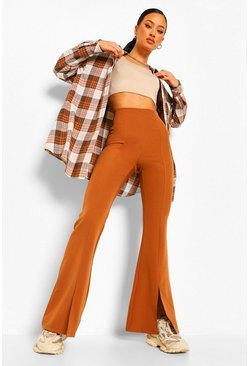 Caramel Split Front Fit And Flare Trouser
