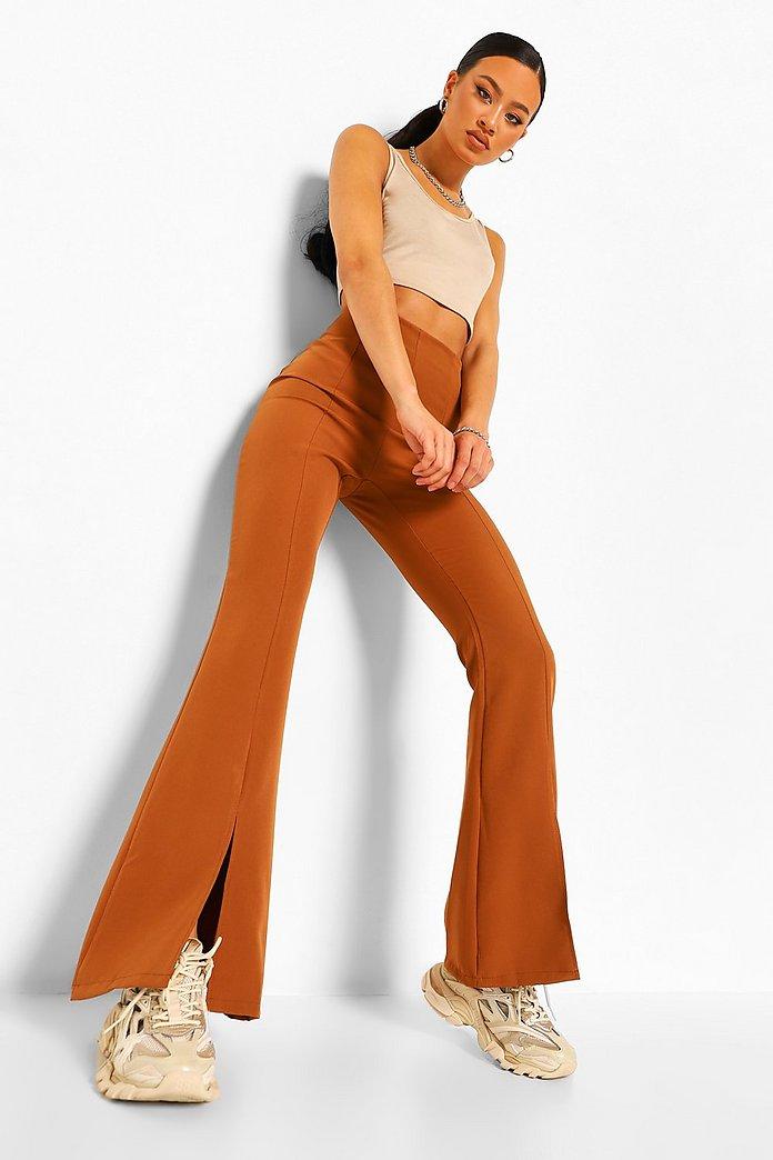 Pantalones Ajustados Y Acampanados Con Abertura Frontal Boohoo