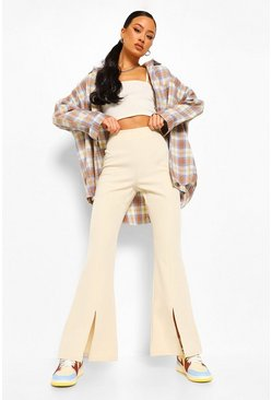 Stone beige Split Front Fit And Flare Pants