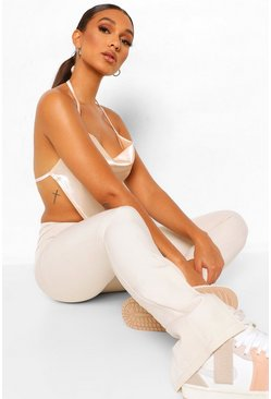 Ivory white Split Side Skinny Tailored Trousers