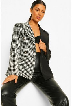 Blazer ajusté à carreaux color block motif pied-de-poule, Black noir