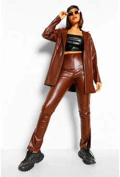 Chocolate Leather Look Side Split Trousers