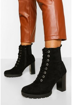 Black Lace Up Heeled Hiker Boot