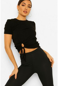 Black Hem Detail Rib T-shirt