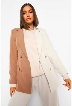 Tan Colour Block Long Line Tailored Blazer
