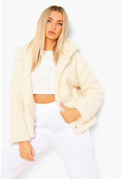 Cream Hooded Teddy Faux Fur Coat