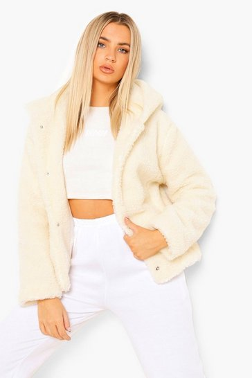 Cream white Hooded Teddy Faux Fur Coat