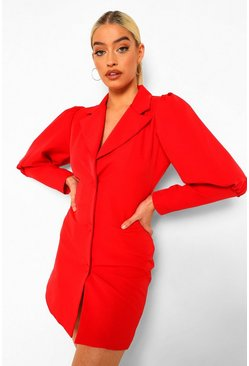 Red Plunge Front Tailored Blazer Dress