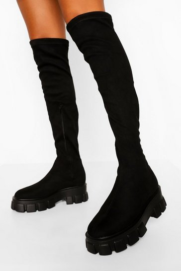 Black Chunky Sole Stretch Over The Knee Boot