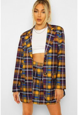 Mustard yellow Pleated Checked Tennis Skirt