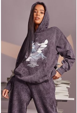 Acid Wash Dove Lightening Oversized Hoodie, Charcoal gris