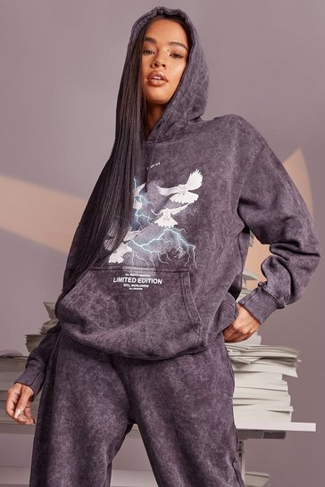 Charcoal grey Acid Wash Dove Lightening Oversized Hoodie