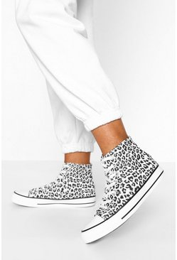 Leopard Print High Top Canvas Trainers