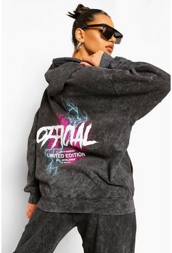 Charcoal grå Acid Wash Official Lightening Oversized Hoodie