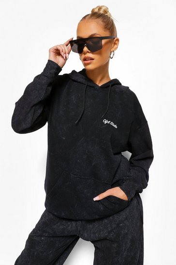 Charcoal grey Acid Wash Offcl Studio Oversized Hoodie