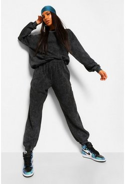 Charcoal grey Acid Wash Oversized Sweater Tracksuit