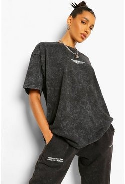 Charcoal grey Acid Wash Official Product Oversized T-shirt