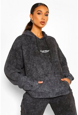 Charcoal grey Oversized Acid Wash Gebleekte Official Product Hoodie