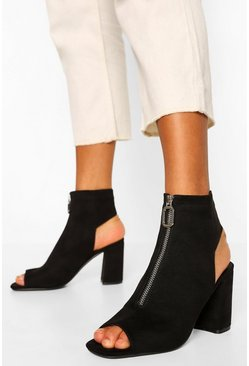 Black Zip Peep Toe Shoe Boot