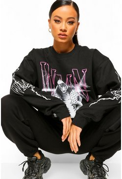 Black Snake Woman Sleeve Print Oversized Sweatshirt