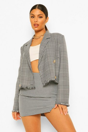 Black Dog Tooth Checked Frayed Hem Cropped Blazer