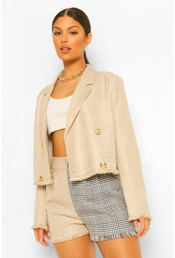 Camel beige Dog Tooth Checked Frayed Hem Cropped Blazer