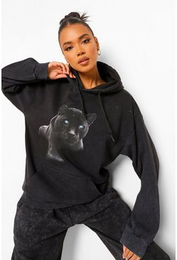 Acid Wash Panther Print Oversized Hoody, Charcoal grau