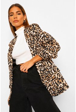 Black Leopard Ruched Sleeve Blazer